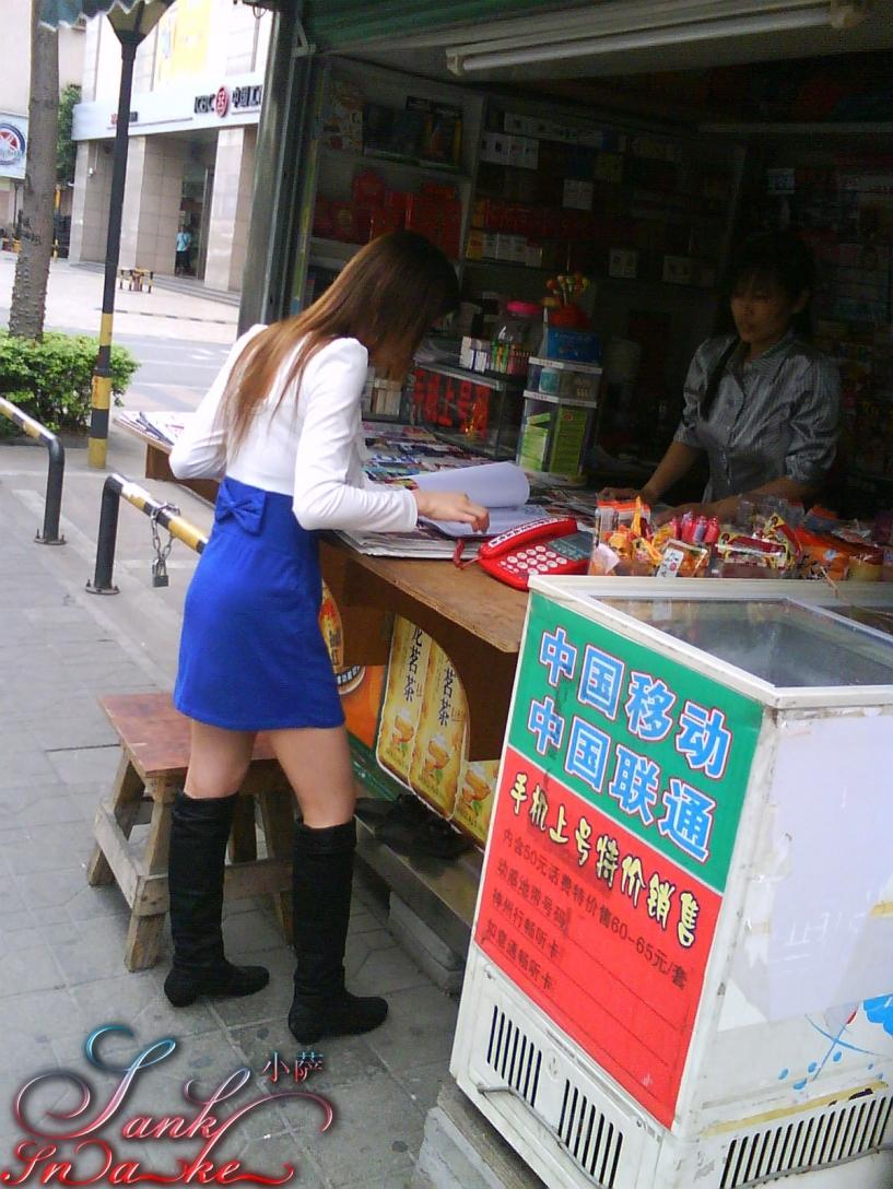 皮 裤 长 靴  [SankSnake]3月作品之白蓝相间短裙黑长靴MM(9P) 街拍第一站全网原创独发!