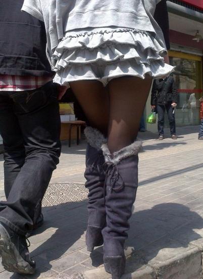 皮 裤 长 靴  2011年3月 灰短裙黑色坡跟长靴 (25P) 街拍第一站全网原创独发!