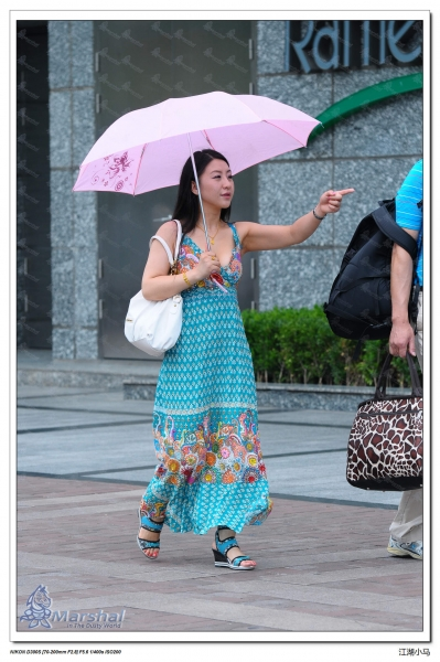 个 性 坡 跟  【莱福仕掠影】关键词- 少 女  ,深v,阳伞,白嫩,坡跟,极品[11P] 街拍第一站全网原创独发!