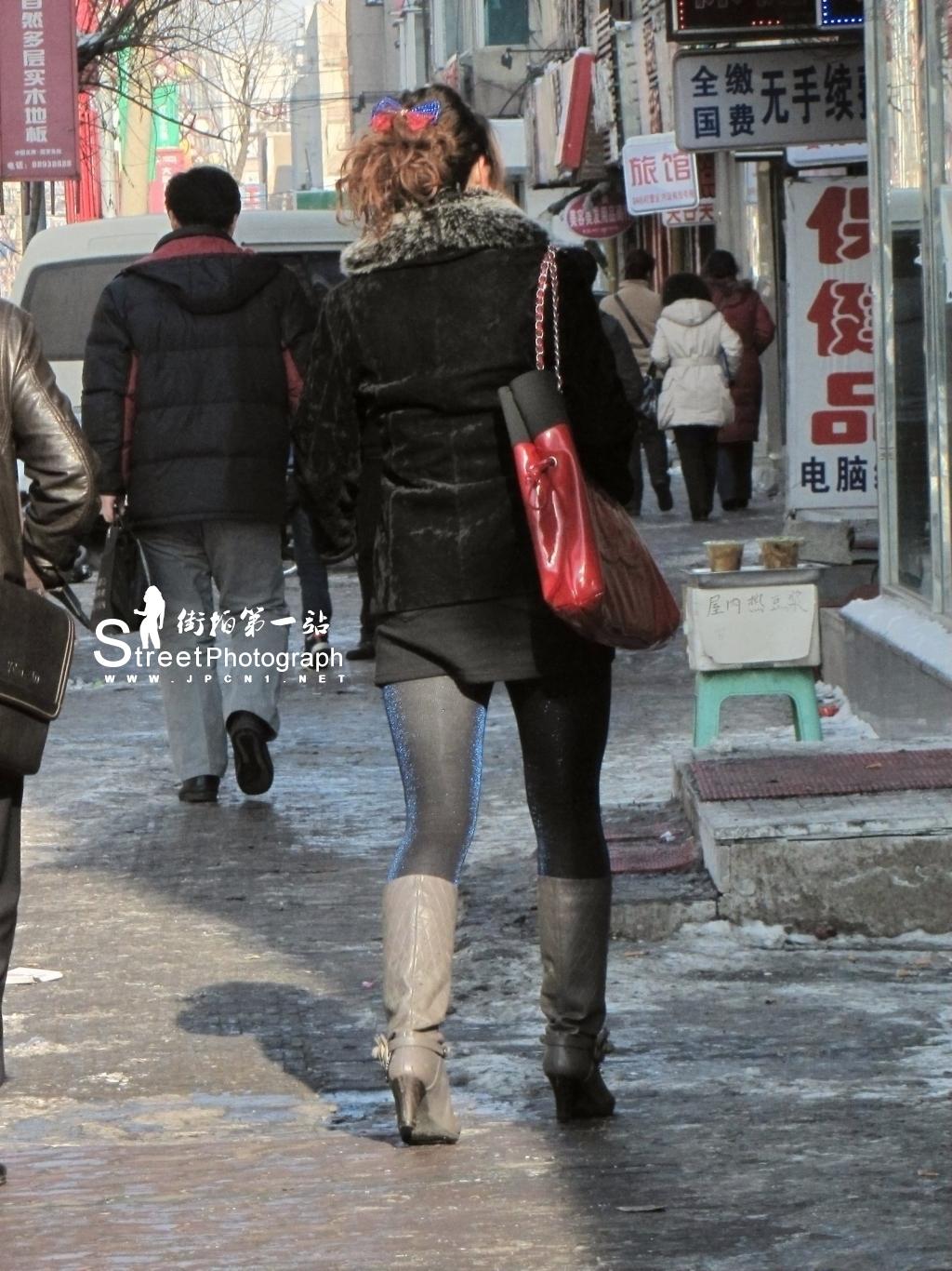 彩 丝 美 女  神话作品 0174 闪亮厚蓝丝 [12P] 街拍第一站全网原创独发!