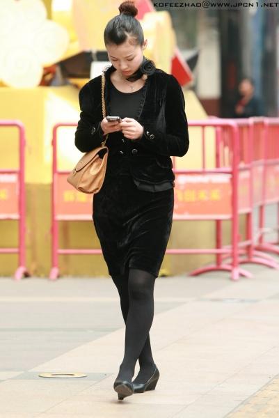 平底帆布  kofeezhao-黑色行政套装 黑厚丝 平底鞋[9P] 街拍第一站全网原创独发!