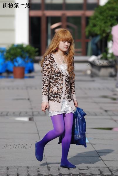 豹 纹 美 女  豹纹衣、白短裙、渐变紫丝-5P 街拍第一站全网原创独发!