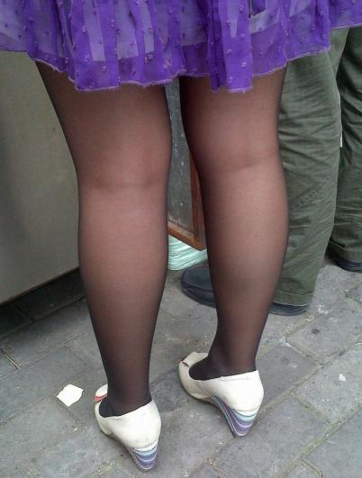 个 性 坡 跟  2011年9月 蓝纱短裙 黑 丝 鱼嘴坡跟鞋  (17P) 街拍第一站全网原创独发!