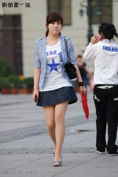 个 性 坡 跟  蓝色五角星、 肉 丝 短裙坡跟-10P 街拍第一站全网原创独发!