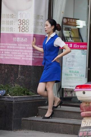 summer_y街拍  蓝色制服超薄肉丝  7P 街拍第一站全网原创独发!