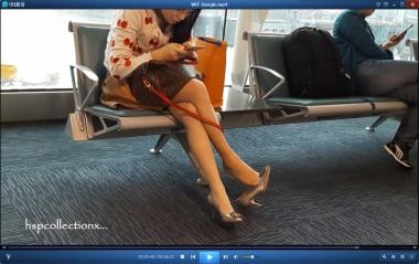 HSP丝袜视频  【HSP's video】候机楼内丝足挑鞋街拍美女[06:31] 街拍第一站全网原创独发!