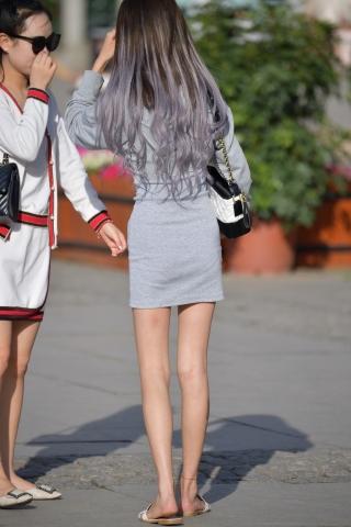 VIP街拍图片发布  灰裙凉拖-20张 街拍第一站全网原创独发!