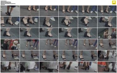 4K视频  4K-时尚妇女的一字带凉鞋透明长 肉 丝 袜 街拍第一站全网原创独发!