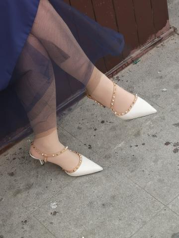 街拍精品月赛  肉 丝气质SF 白色铆钉高跟凉鞋 16P 街拍第一站全网原创独发!